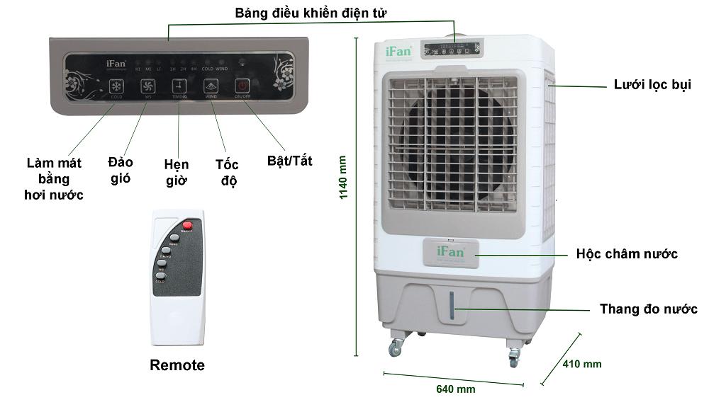 Quạt điều hòa hơi nước, máy làm mát iFan-650 có bộ điều khiển hiện đại, tiện lợi