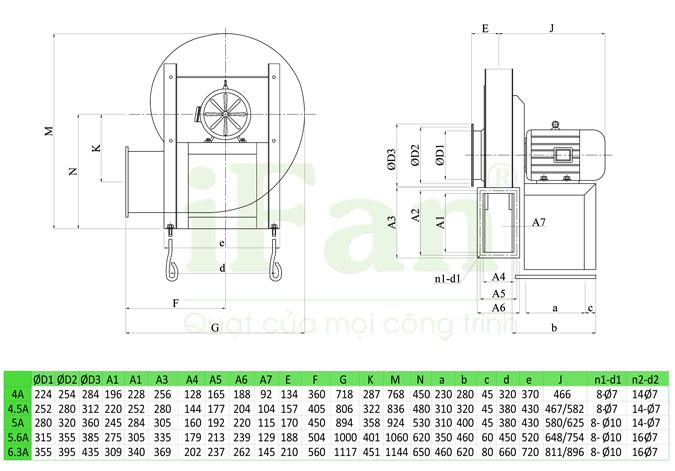 Bản vẽ kỹ thuật Quạt ly tâm cao áp động cơ chuyển động trực tiếp 9-26(A)