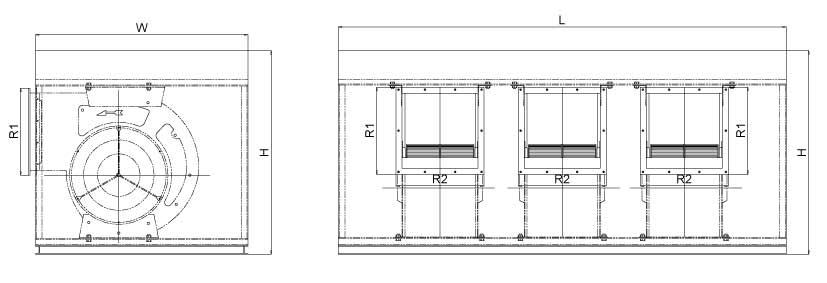 Bản vẽ kỹ thuật Quạt điều hòa không khí BF-III