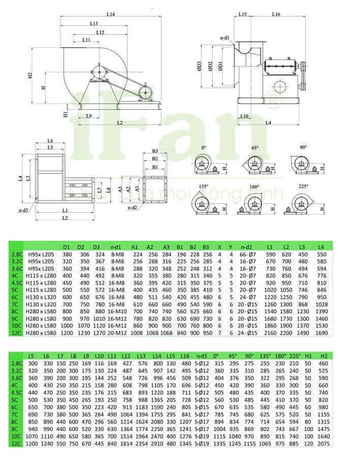 bản vẽ kỹ thuật quạt ly tâm trung áp hút bụi 4-72C