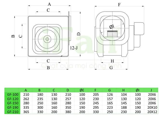 Bản vẽ quạt ly tâm thấp áp iFan lắp đường ống GF